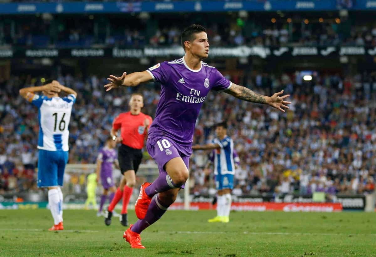James Rodriguez scores in Real Madrid's away victory against Espanyol