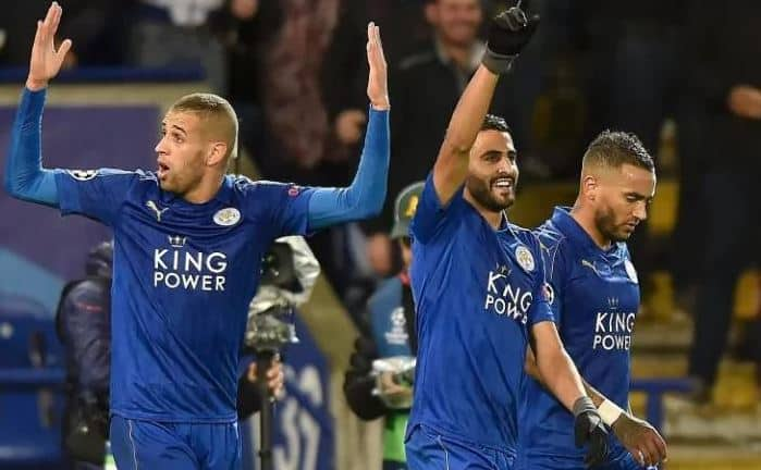 Leicester City celebrate a goal in Champions League