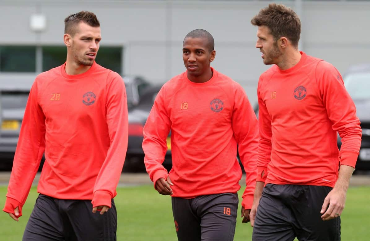Morgan schneiderlin, Ashley Young and Michael Carrick