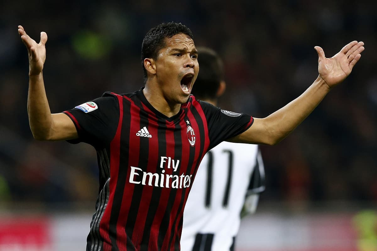 AC Milan's Colombian forward Carlos Bacca reacts during the Italian Serie A football match AC Milan versus Juventus on October 22, 2016 at the San Siro Stadium in Milan. / AFP / MARCO BERTORELLO (Photo credit should read MARCO BERTORELLO/AFP/Getty Images)