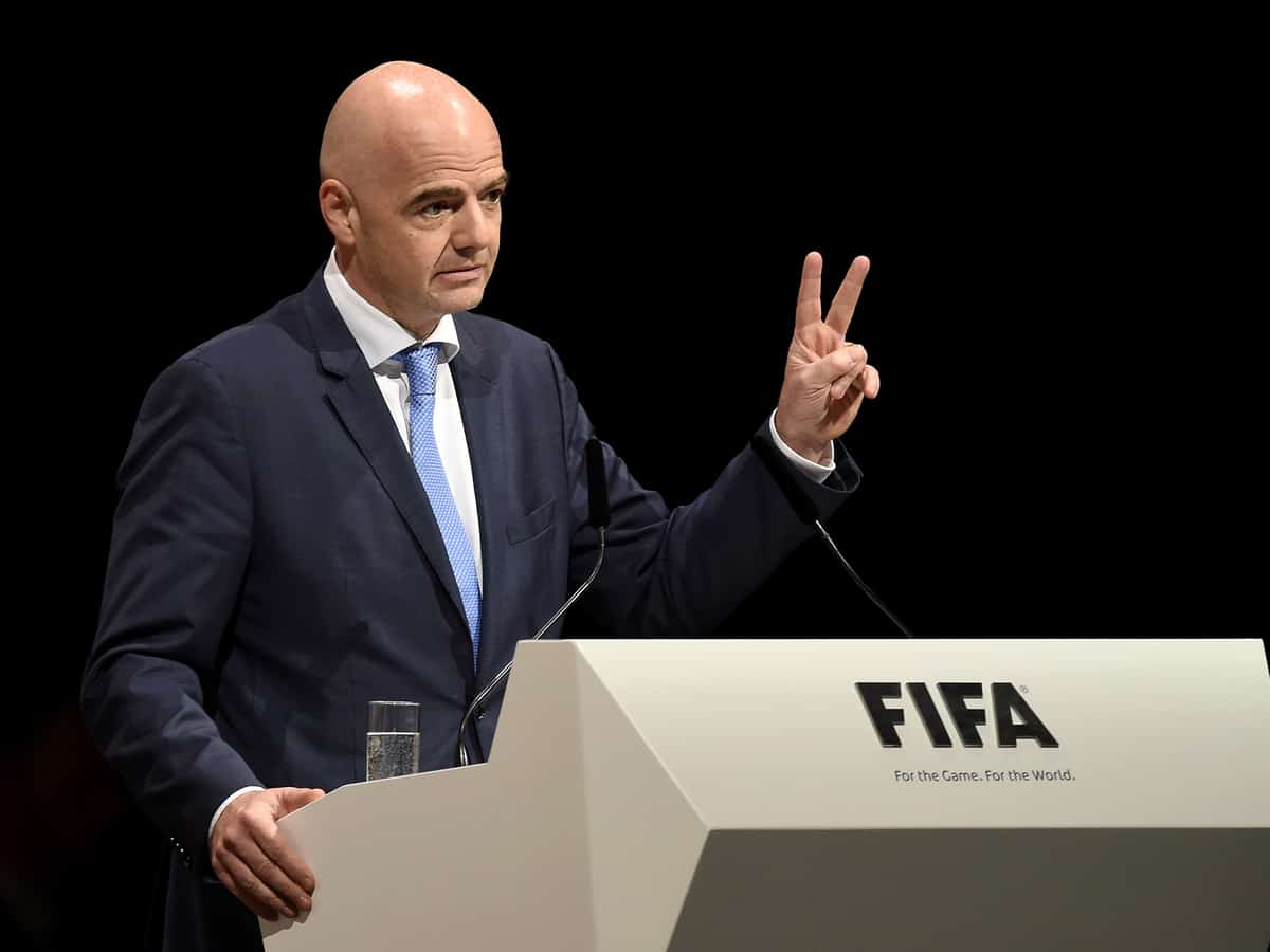 ZURICH, SWITZERLAND - FEBRUARY 26: FIFA Presidential candidate Gianni Infantino talks during the Extraordinary FIFA Congress at Hallenstadion on February 26, 2016 in Zurich, Switzerland. (Photo by Matthias Hangst/Getty Images)