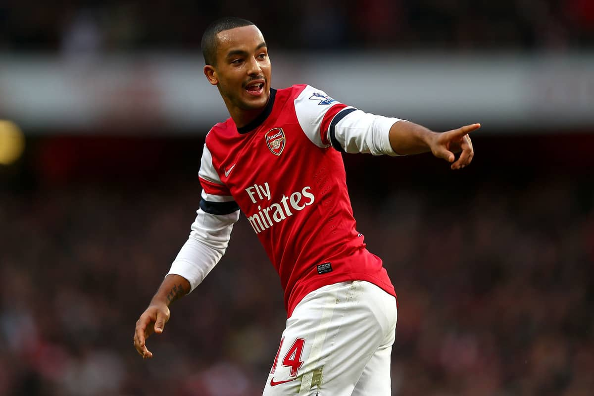 Theo Walcott of Arsenal celebrates his goal during the Barclays Premier league match between Arsenal and Tottenham Hotspur at Emirates Stadium on November 17, 2012 in London, England. (Photo by Clive Rose/Getty Images,)
