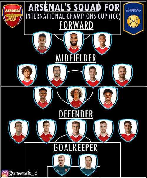 Lucas Moura Goal Vs Manchester United: Arsenal Squad For The International Champions Cup Is