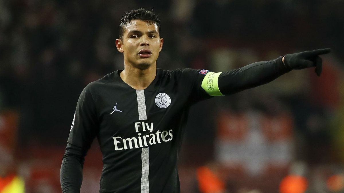PSG star Thiago Silva in action
