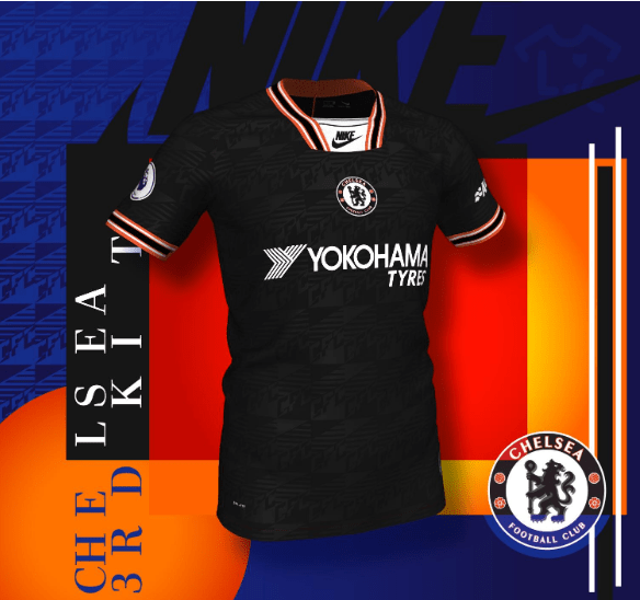 7306a51e3 The front of the Nike Chelsea 2019-20 third kit comes with a 90-inspired  print with the letters CFC. Source  FootyHeadlines