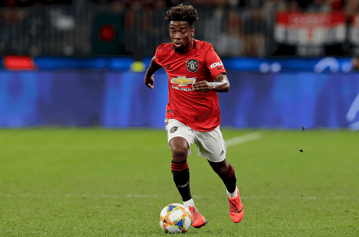 Manchester United starlet Angel Gomes against AZ Alkmaar in a Europa League clash