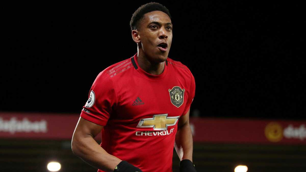 Anthony Martial celebrating a goal against Norwich City