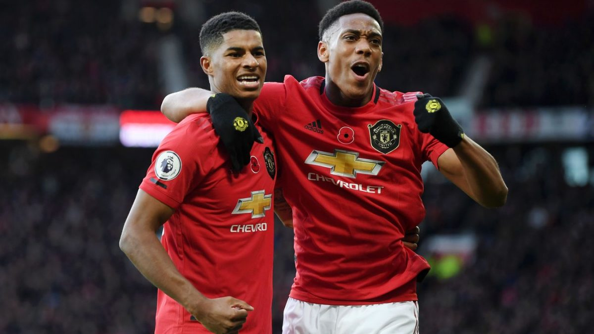 Anthony Martial and Marcus Rashford celebrating goal for Manchester United