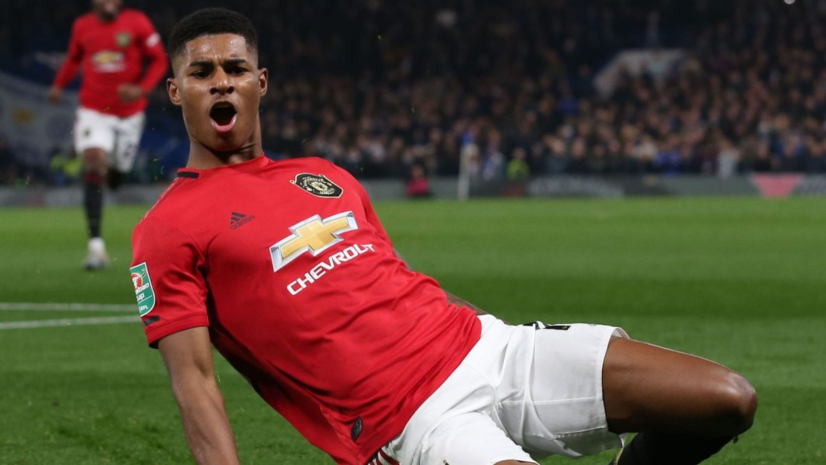 Marcus Rashford celebrates a goal for Manchester United