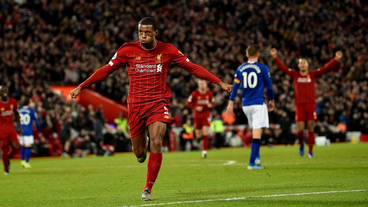 Georginio Wijnaldum celebrates a goal for Liverpool
