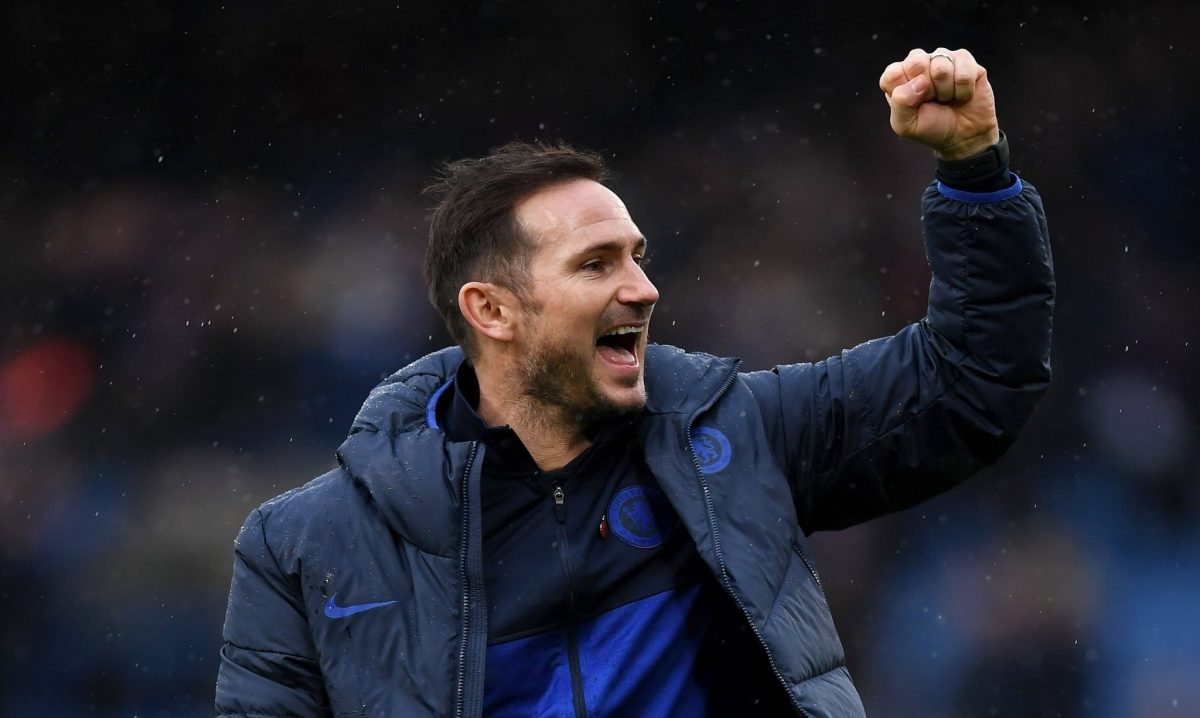 Chelsea boss Frank Lampard celebrates victory at Stamford Bridge