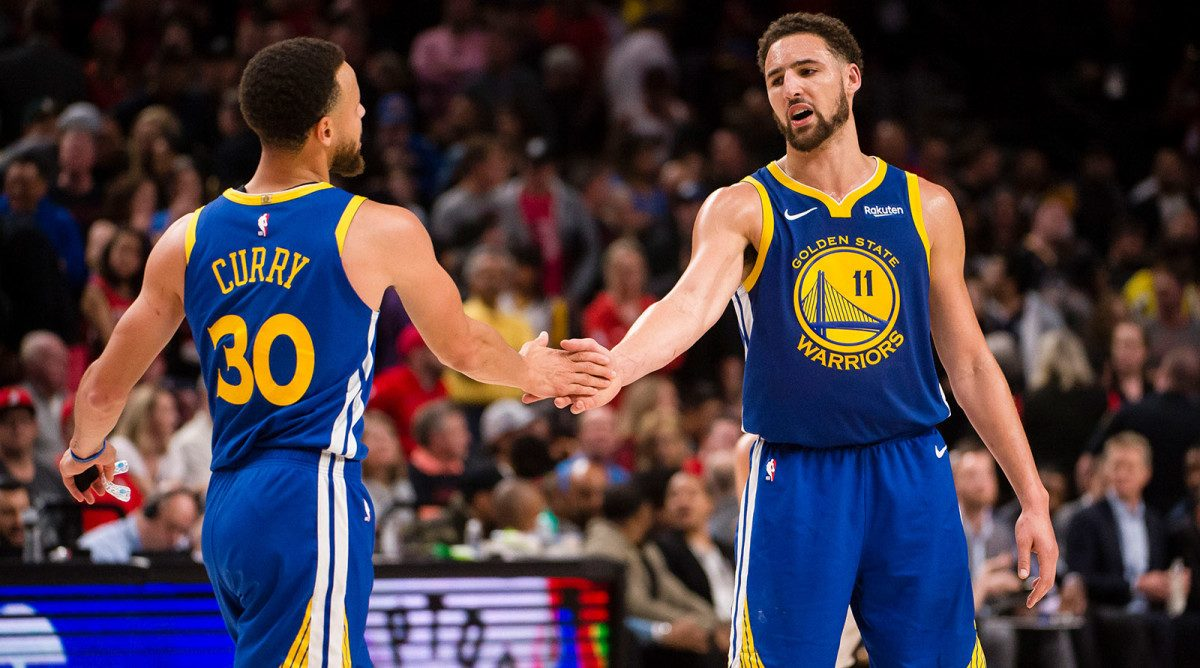 Stephen Curry and Klay Thompson in action for the Golden State Warriors