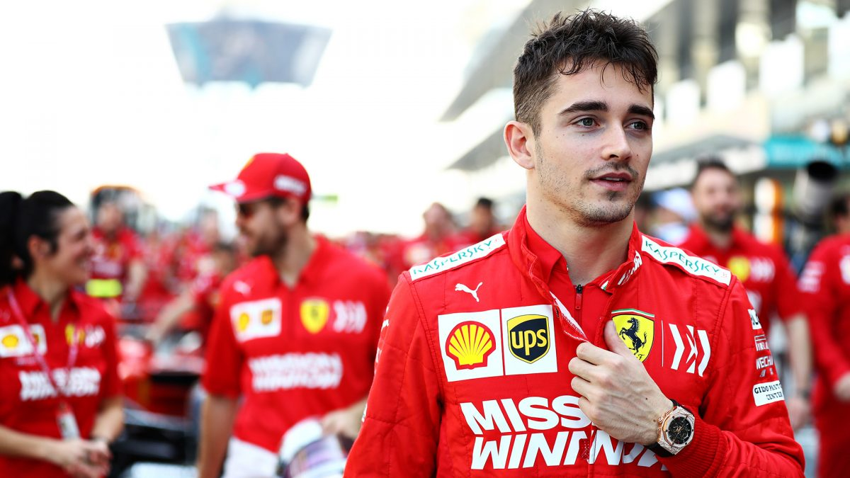 Charles Leclerc of Monaco and Ferrari walks in the pitlane before final practice for the F1 Grand Prix of Abu Dhabi at Yas Marina Circuit on November 30,
