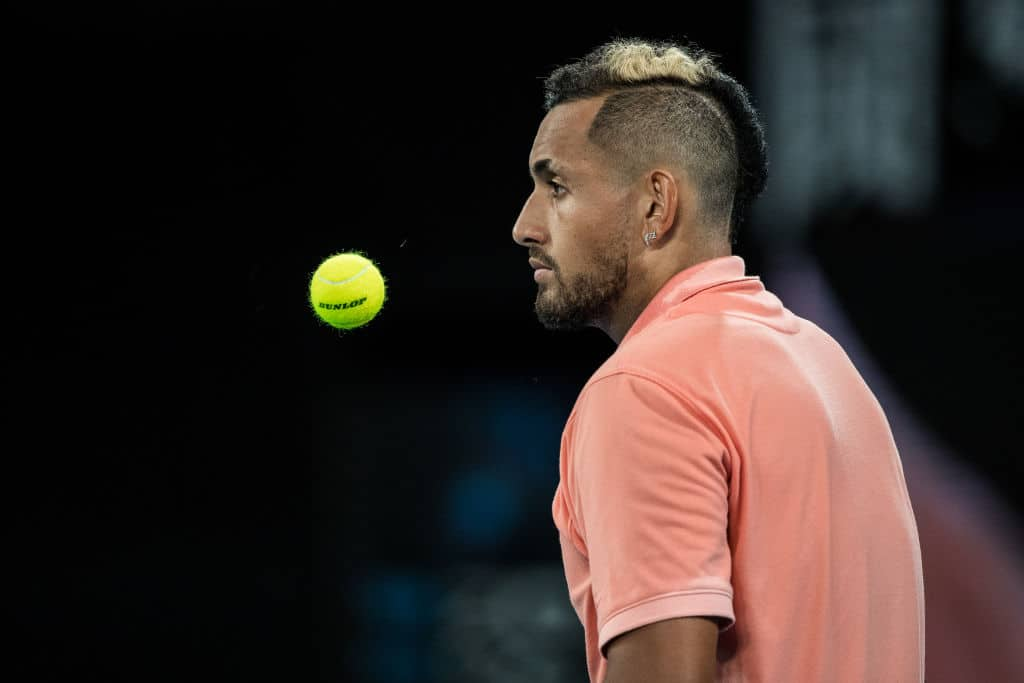 Nick Kyrgios of Australia waiting to serve in his first round match against Lorenzo Sonego of Italy on day two of the 2020 Australian Open at Melbourne Park on January 21, 2020 in Melbourne, Australia. (Photo by Chaz Niell/Getty Images)