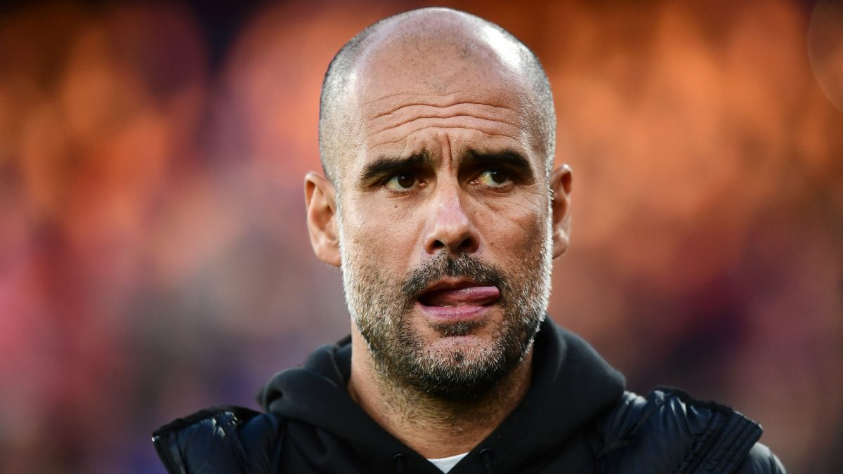 Manchester City boss Pep Guardiola during Champions League match