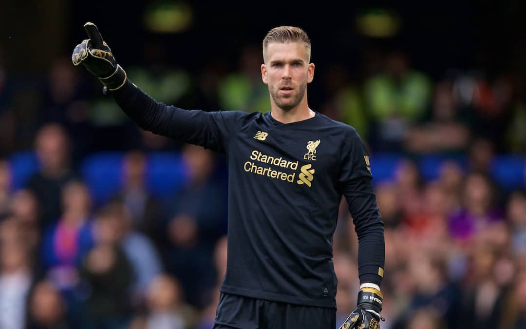 Liverpool's goalkeeper Adrián San Miguel del Castillo during the FA Premier League match between Chelsea's FC and Liverpool FC at Stamford Bridge