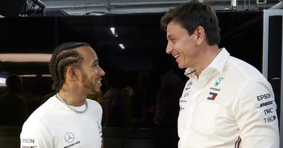 Mercedes team boss Toto Wolff and driver Lewis Hamilton