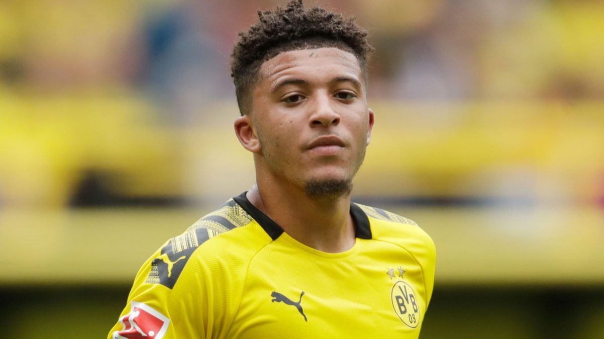 Jadon Sancho in action for Borussia Dortmund
