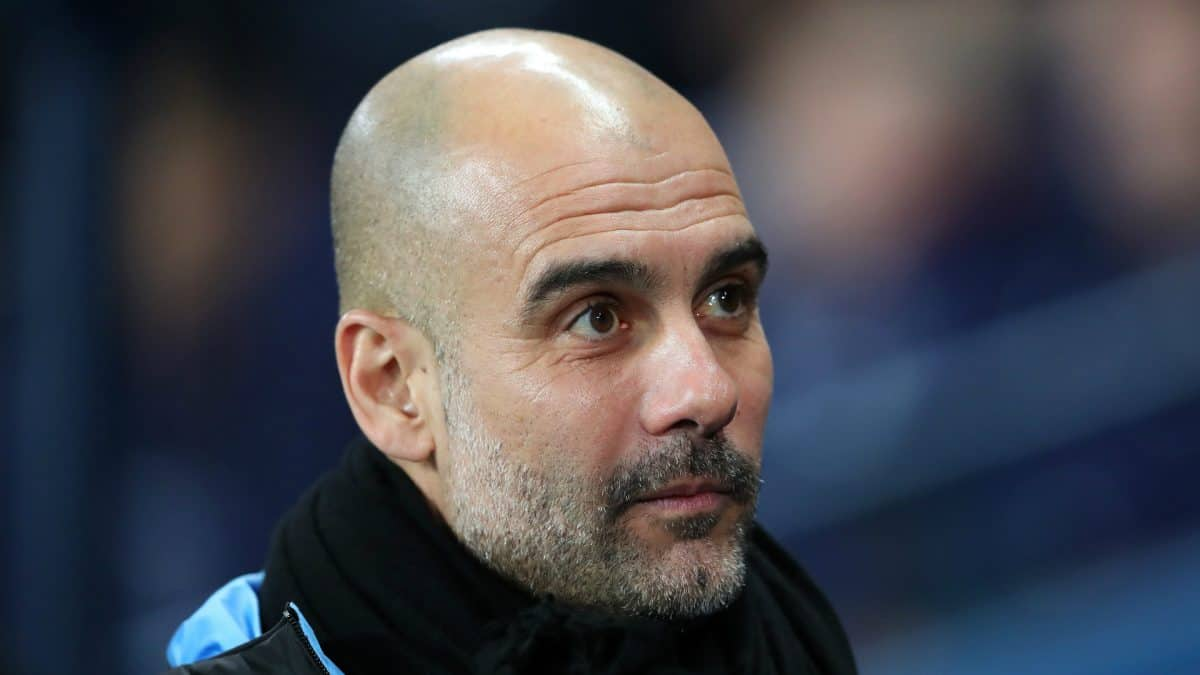 Manchester City boss Pep Guardiola on the bench