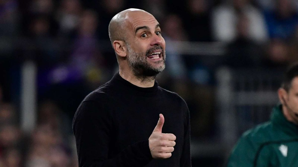 Manchester City boss Pep Guardiola during the game