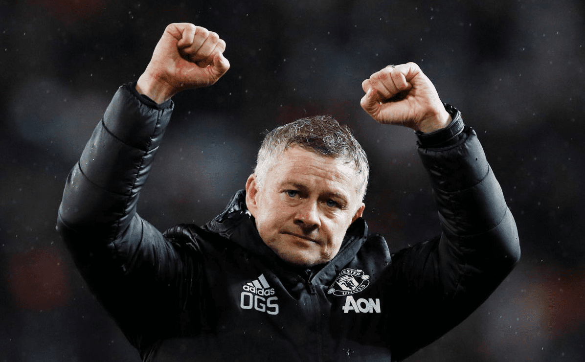 Ole Gunnar Solskjaer celebrates a goal for Manchester United