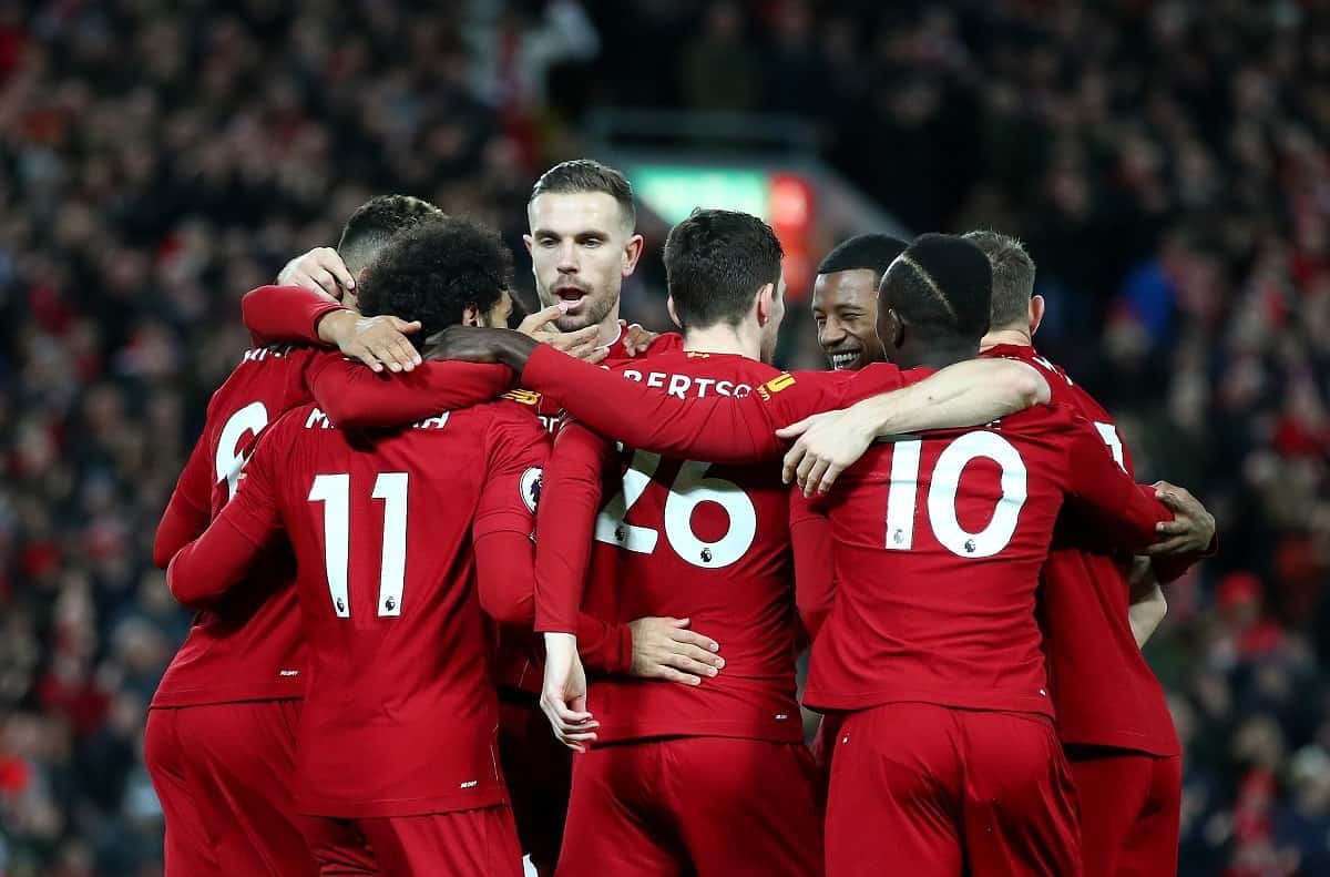 Liverpool celebrating a goal against Manchester United in the Premier League 2019/20 season