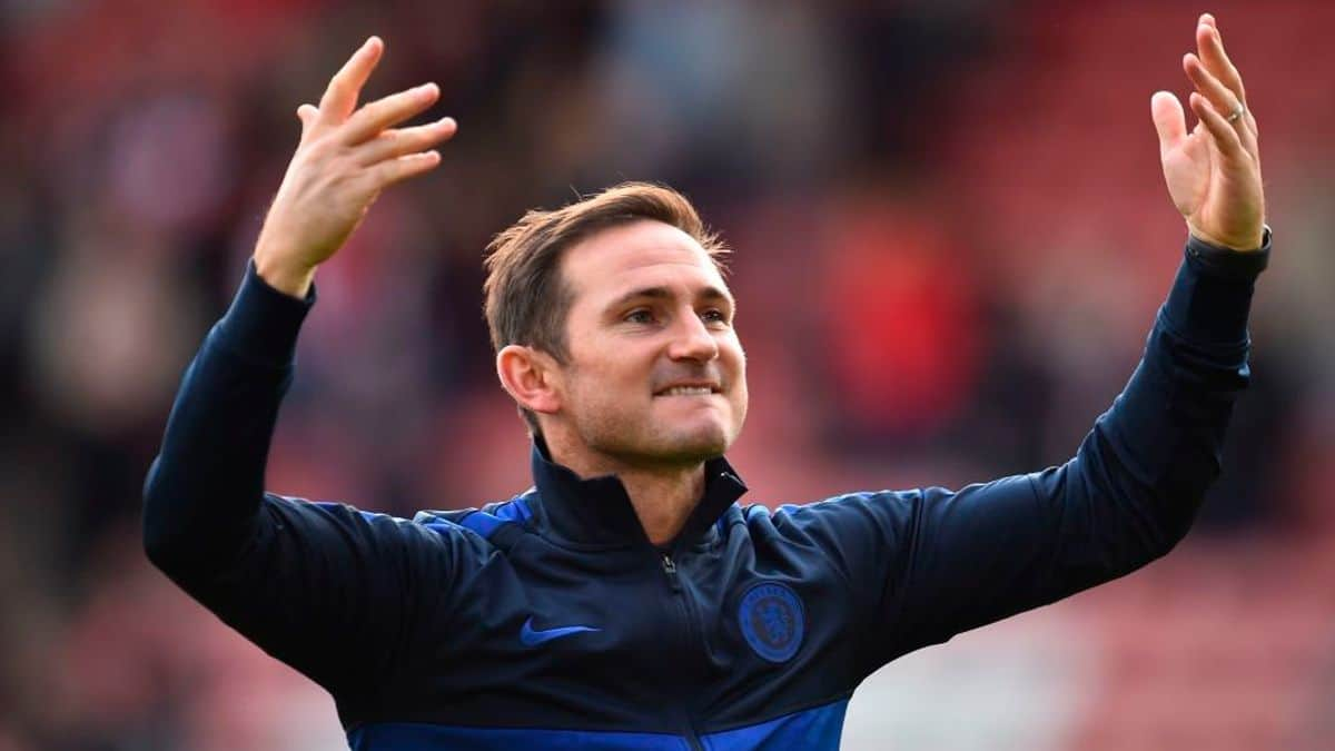 Chelsea manager Frank Lampard celebrates victory in the Premier League match