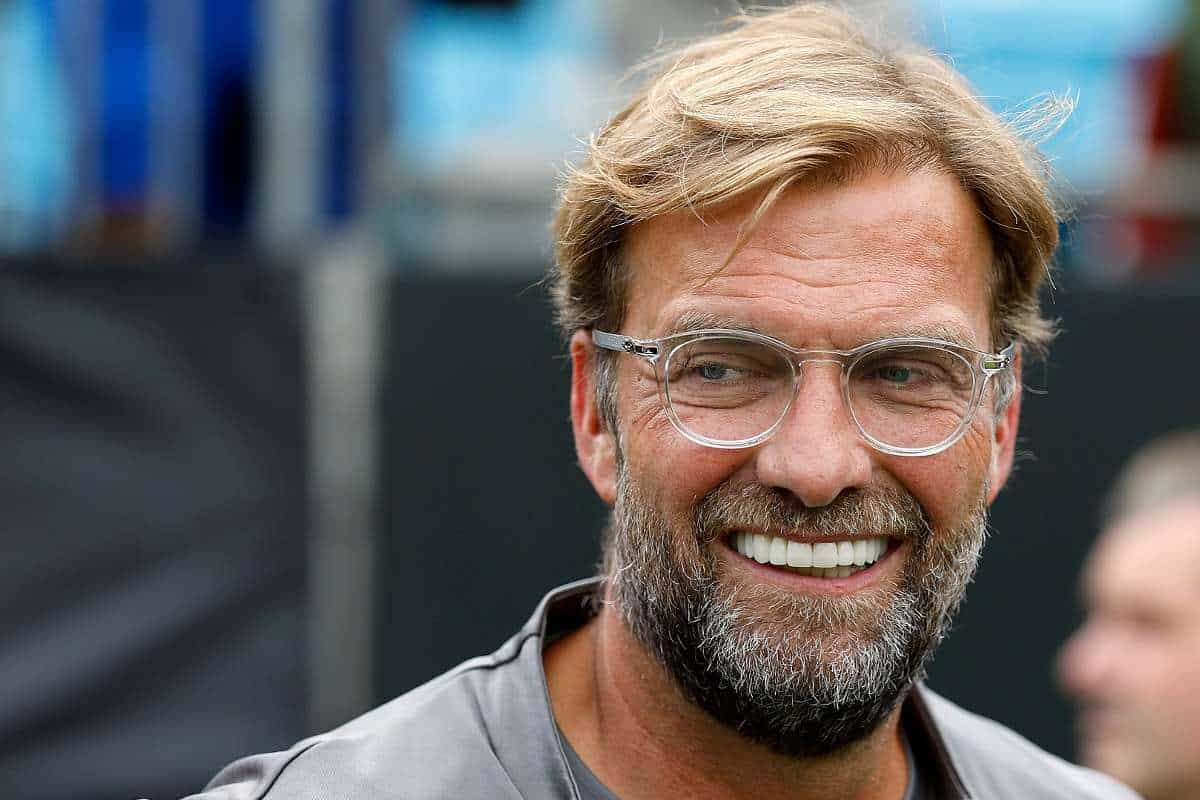 Jurgen Klopp smiles all the way during the interview