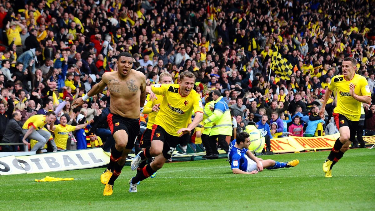Troy Deeney celebrating Watford's third goal against Leicester in Champions play-off semis (PA Photos)