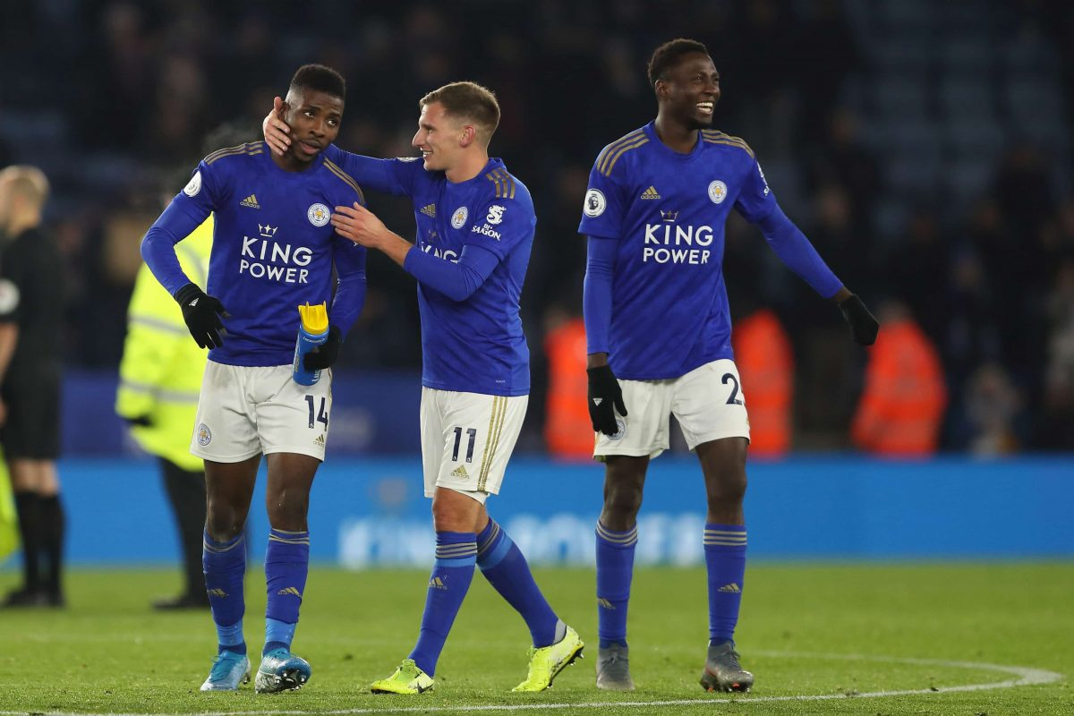 Leicester City players during the Premier League clash