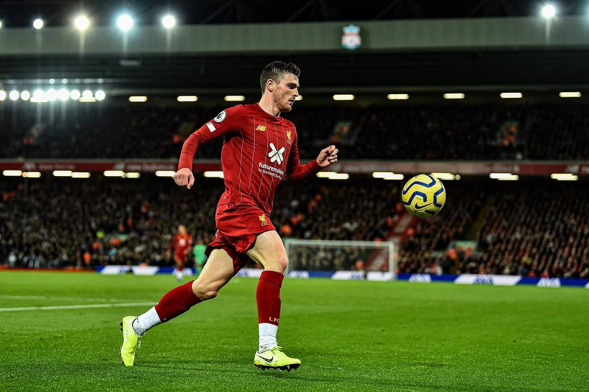 Andy Robertson in action for Liverpool, Premier League GW 14