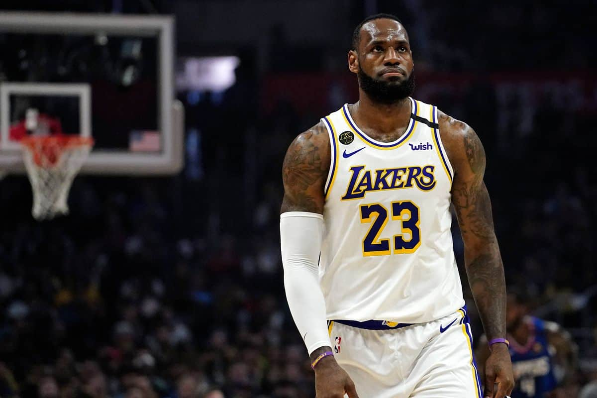 LeBron james in action for Los Angeles Lakers