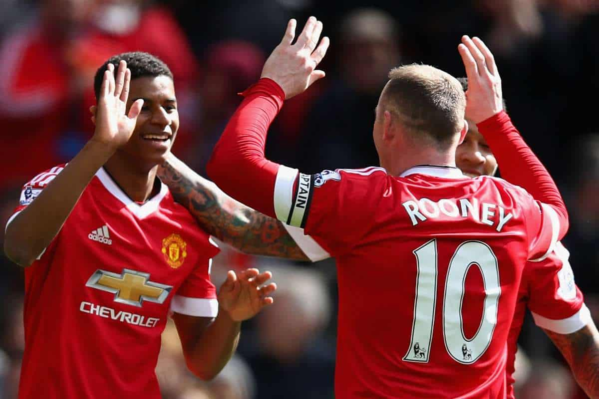 Marcus Rashford and Wayne Rooney celebrate goal for Manchester United