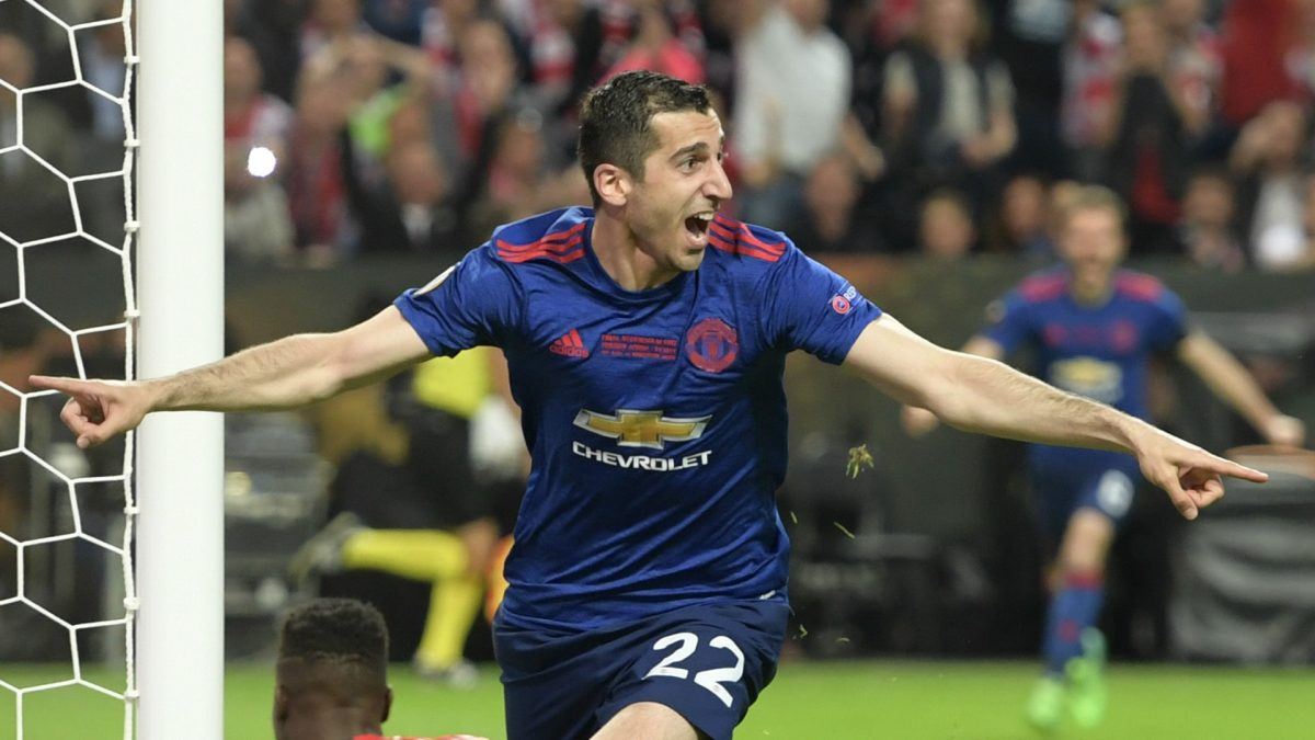 Henrikh Mkhitaryan celebrating his goal for Manchester United during Europa League final against Ajax (Getty Images)