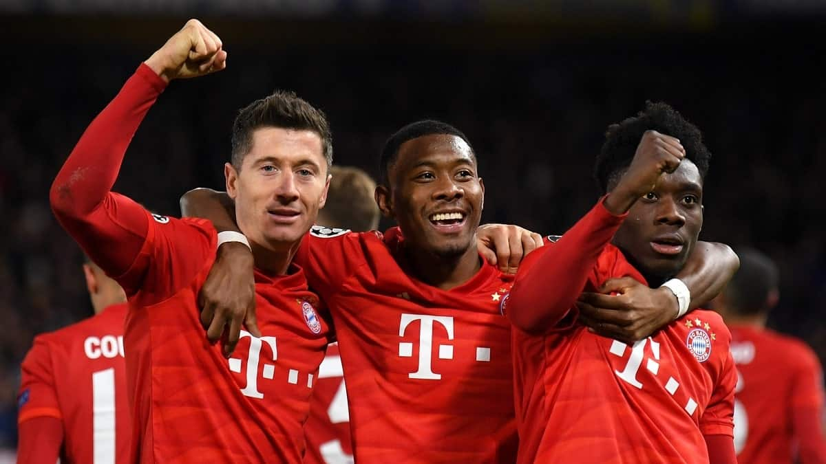 Robert Lewandowski, David Alaba and Alphonso Davis in action for Bayern Munich against Chelsea in the Champions League