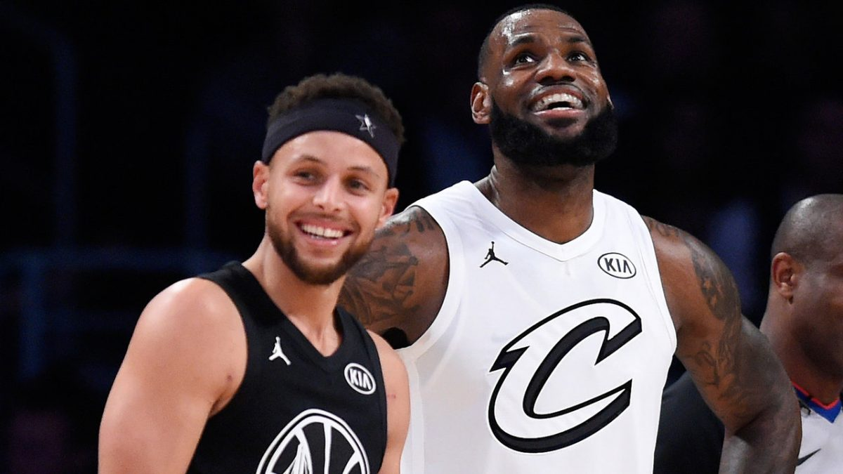 Stephen Curry and LeBron James during the NBA all star