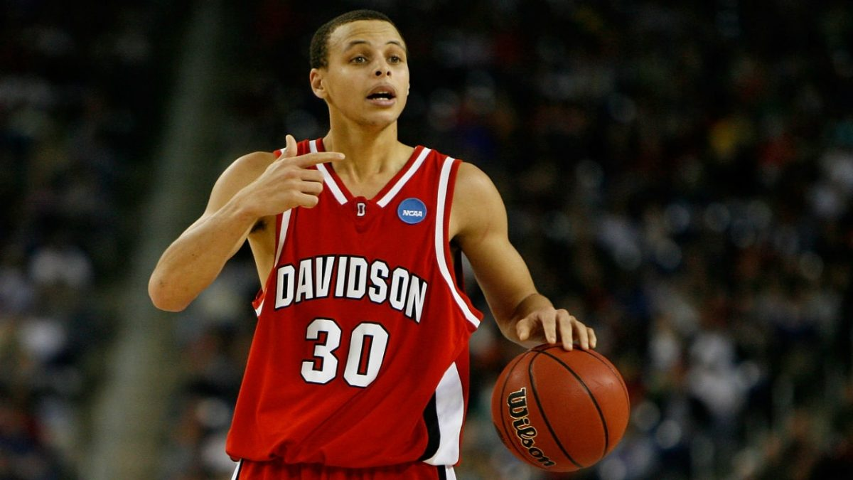 Stephen Curry during college years in action for Davidson
