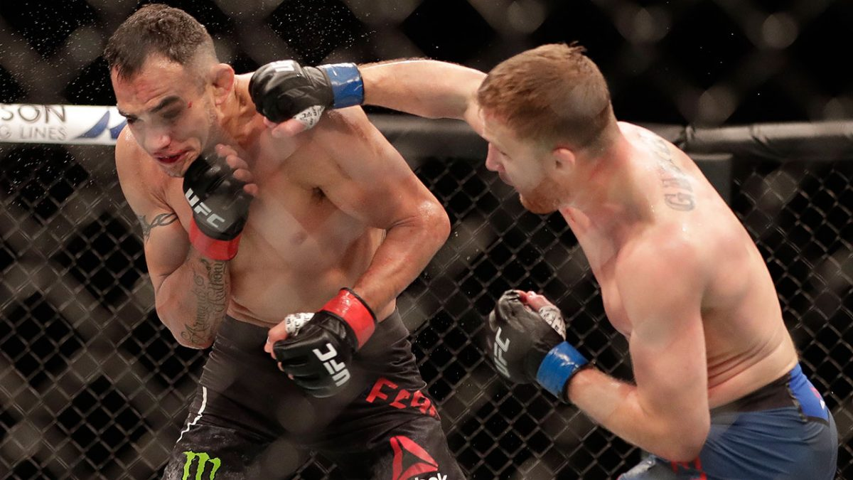 Justin Gaethje ended Tony Ferguson's 12-fight winning streak ruthlessly to claim the UFC lightweight interim title in Florida
