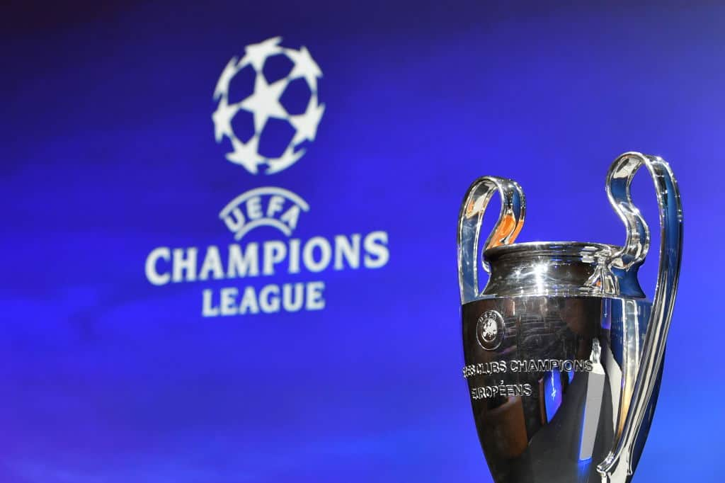 A general view of the trophy ahead of the UEFA Champions League