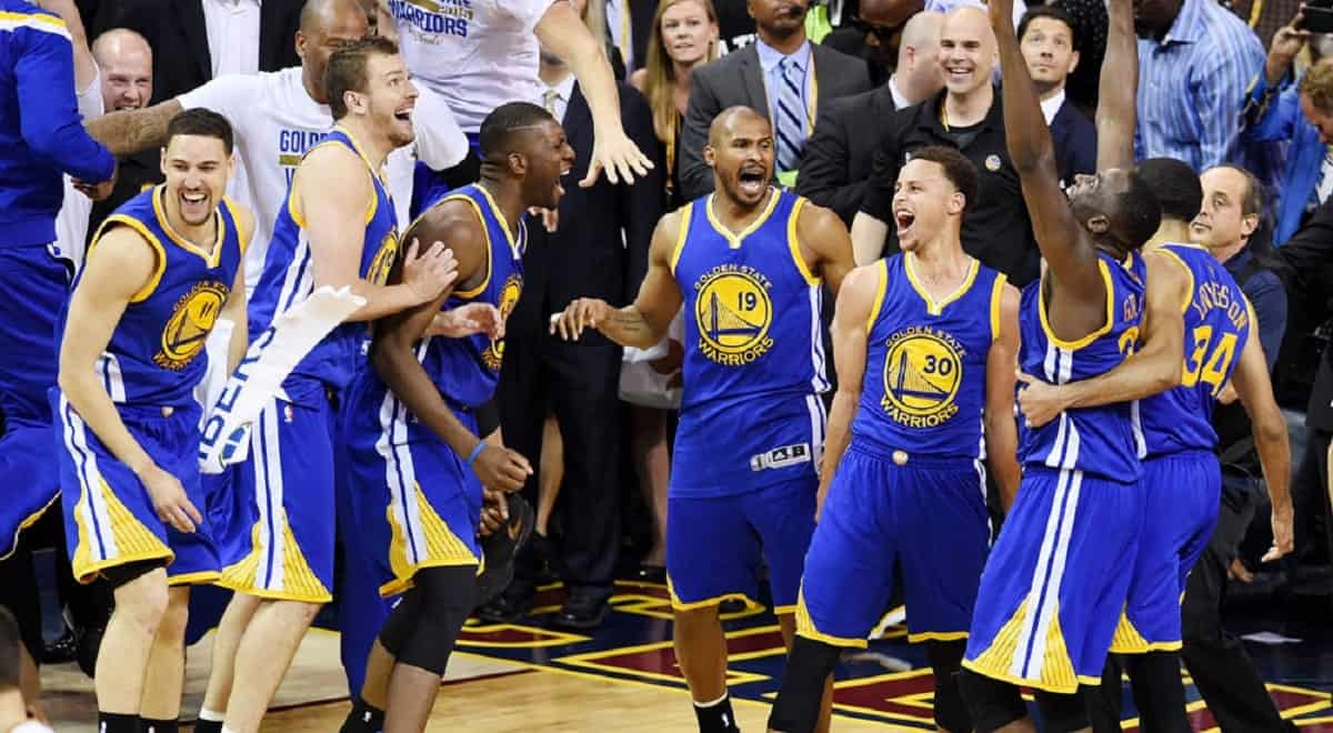Slam Golden State Warriors celebrate as they are named 2015 NBA Champions