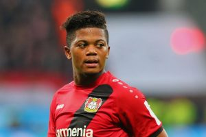 Leon Bailey in action for Bayer Leverkusen