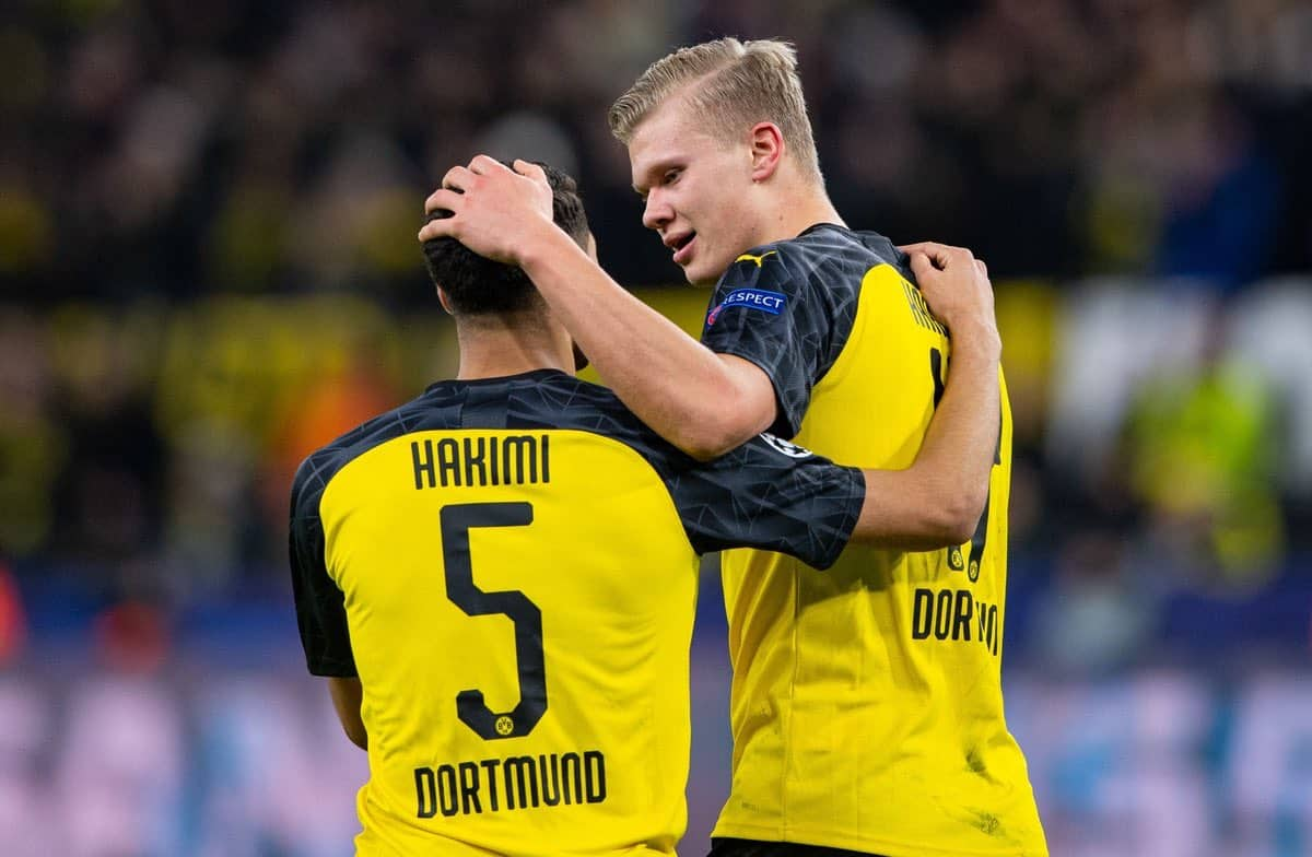 Achraf Hakimi and Erling Haaland in action for Borussia Dortmund