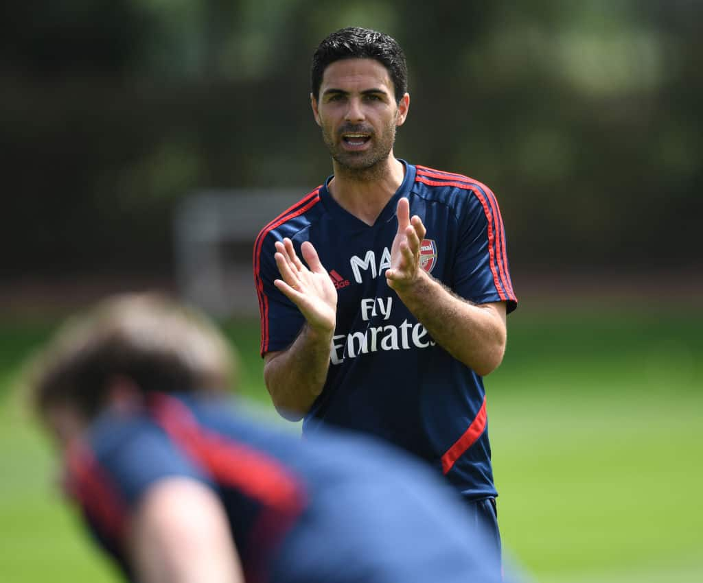 Arsenal Head Coach Mikel Arteta during a training session at London Colney on May 26, 2020 in S