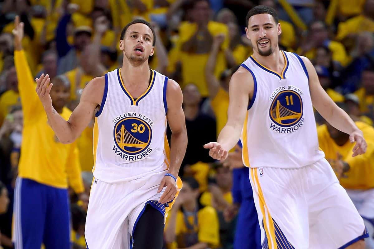Stephen Curry and Klay Thompson in action for the Warriors