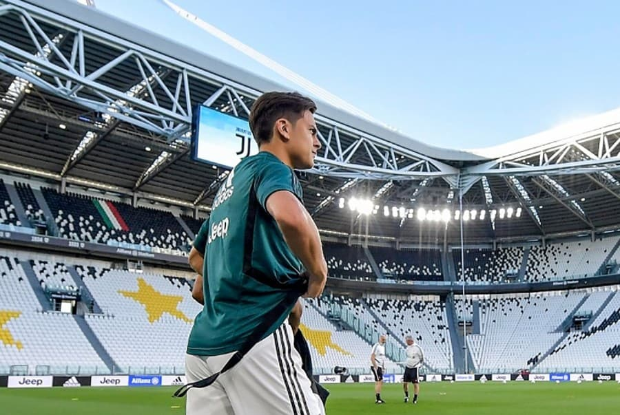 Juventus player Paulo Dybala during a training session at Allianz Stadium
