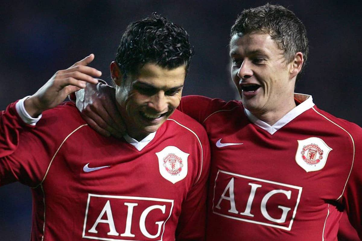 Ole Gunnar Solskjaer and Cristiano Ronaldo playing for Manchester United