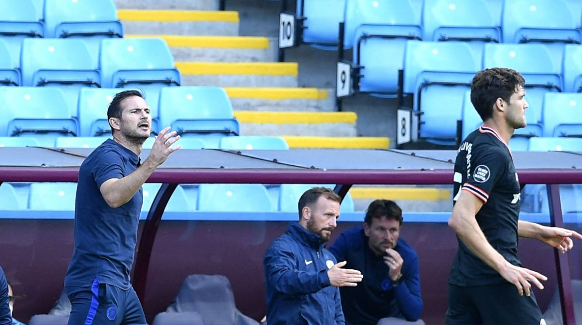 Frank Lampard, Manager of Chelsea gives his team instructions during the Premier League match between Aston Villa and Chelsea