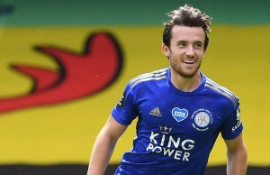 Leicester City's English defender Ben Chilwell celebrates after scoring his team's first goal during the English Premier League football match between Watford and Leicester City at Vicarage Road Stadium