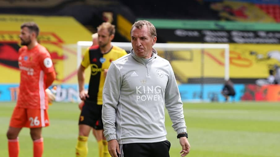 Leicester City Manager Brendan Rodgers during the Premier League match between Watford FC and Leicester City at Vicarage Road on June 20, 2020 in Watford, United Kingdom.