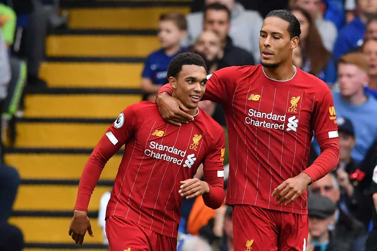 Van Dijk and Alexander-Arnold after scoring the opening goal during the English Premier League football match between Chelsea and Liverpool at Stamford Bridge in London on September 22, 2019.
